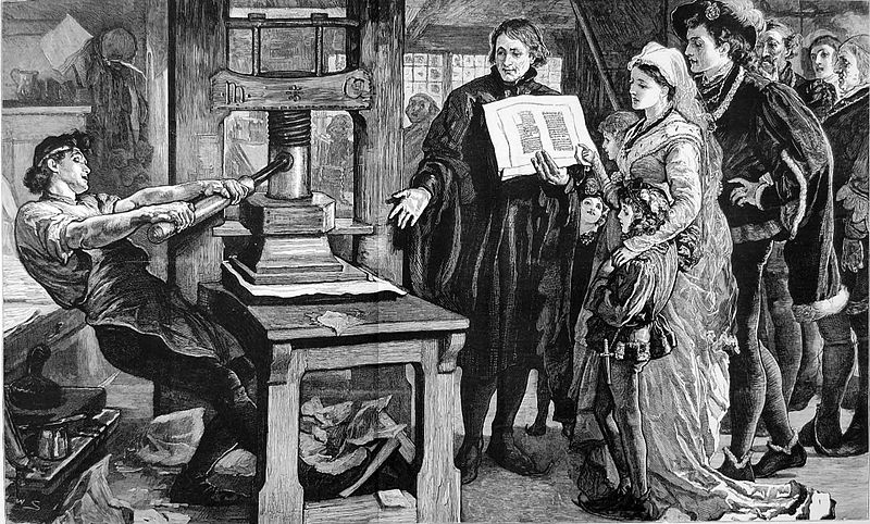 William Caxton showing specimens of his printing to King Edward IV and his Queen. Published in 'The Graphic' in 1877; now in the Public Domain.