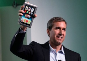 William Lynch, Chief Executive Officer of Barnes & Noble, holds up the new Nook Tablet at the Union Square Barnes & Noble in New York