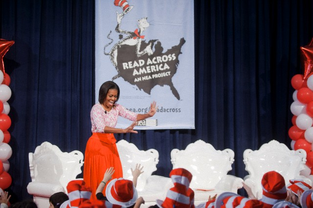 First Lady Michelle Obama takes part in Read Across America 2012