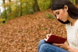 writing poetry in the woods, national poetry month 2016