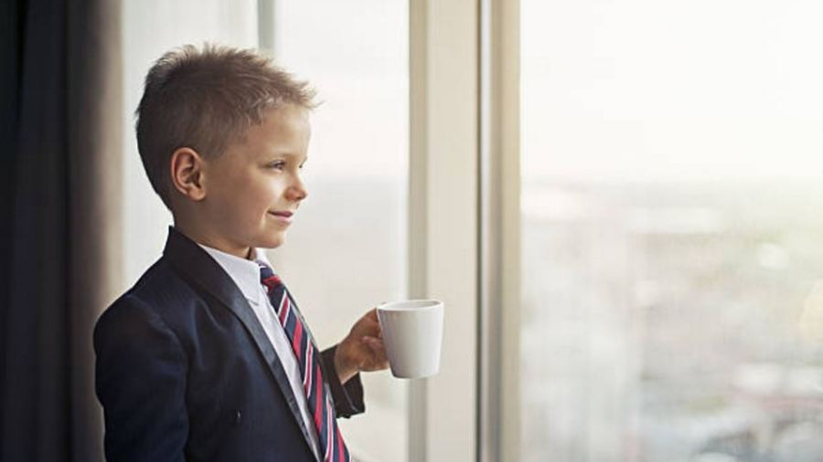 businesslike business suit coffee child