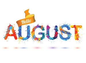 Hello august. Splash paint letters