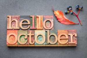 hello October word abstrtact in wood type