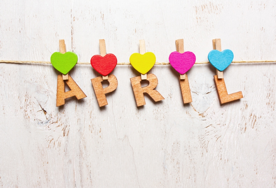 "the word ""april"" from the wooden letters"