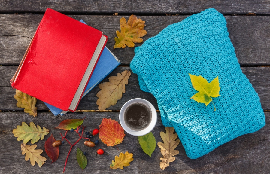 fall autumn book blanket coffee