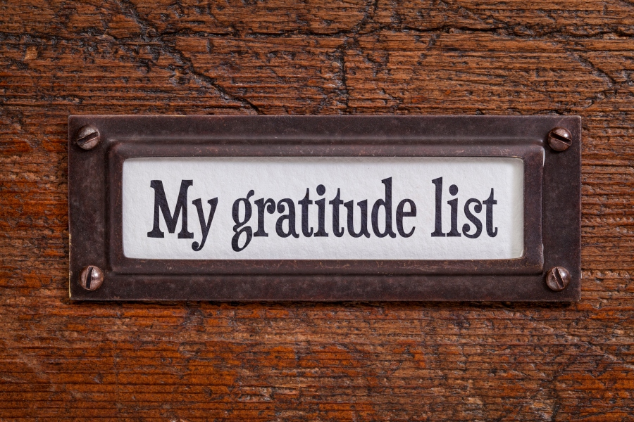 My gratitude list - file cabinet label