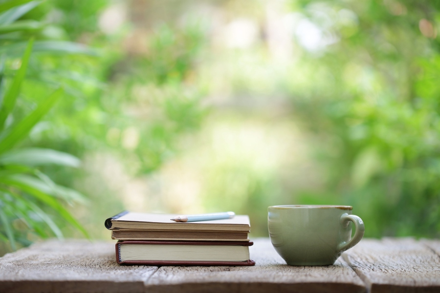 spring writing mug coffee tea books