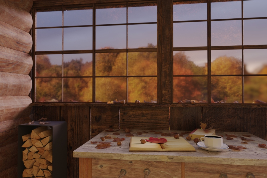 3d rendering of cup of coffee on wooden windowsill with leaves in front of colorful forest