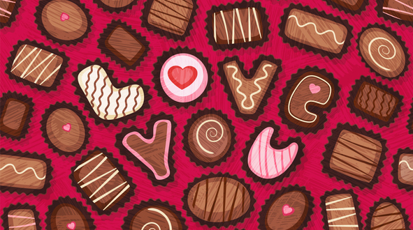 Seamless pattern of Valentines Day candy. Fancy chocolate bonbons with love you message.